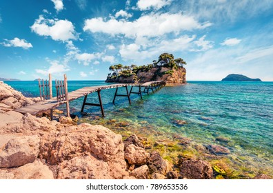 Fantastic spring view of the Cameo Island. Picturesque morning scene on the Port Sostis, Zakinthos island, Greece, Europe. Beauty of nature concept background.