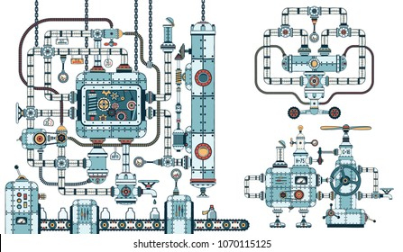 Fantastic steampunk machine - conveyor consisting of variety of devices, pipes, mechanisms and parts.