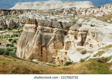 Fantastic stone landscapes of Cappadocia, stone valley in Turkey - Kapadokya mountains view