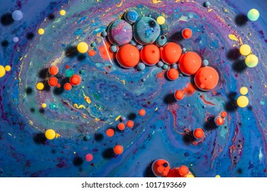 Fantastic structure of colorful bubbles. Abstract colorful paint. Top view
