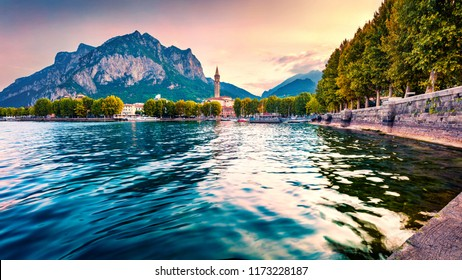 Fantastic summer sunrise of Como lake. Splendid morning cityscape of central park of Lecco town, Italy, Europe. Traveling concept background.