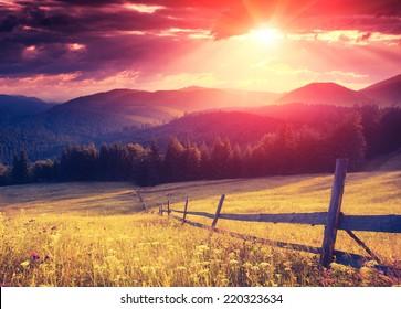 Fantastic sunny hills glowing by sunlight. Dramatic scenery. Carpathian, Ukraine, Europe. Beauty world. Retro style filter. Instagram colorful toning effect.