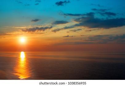 Fantastic sunrise over the ocean on island of Sri Lanka.Beautiful tropical landscape.