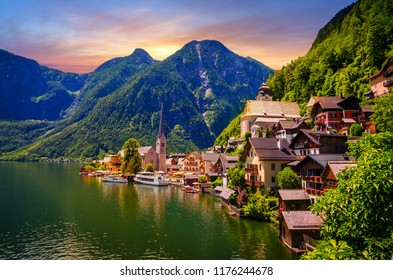 Fantastic sunset in Hallstatt village and alpine lake, Austrian Alps,  Salzkammergut, Austria, Europe