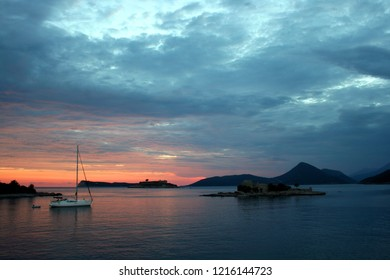 Fantastic sunset landscape with dramatic sky at Peninsula Lustica in Montenegro