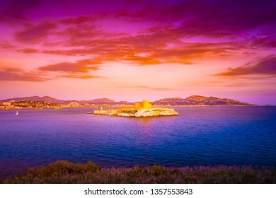 Fantastic sunset over famous If castle, chateau d'If, Marseille, France