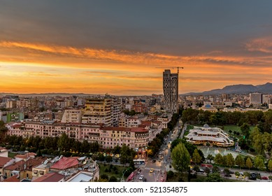 Fantastic sunset, view of Tirana, capital of Albania from skyscraper's roof