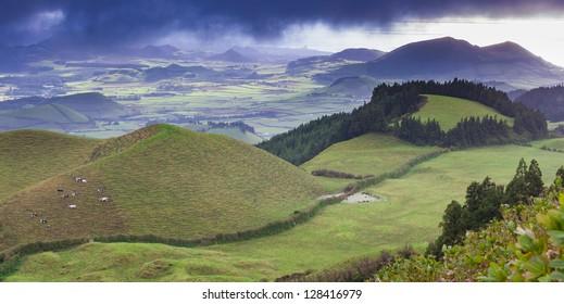 Fantastic, surrealistic, landscape on Azores island San Miguel (Sao Miguel)