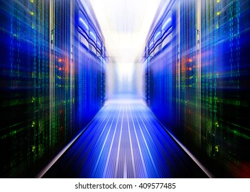 fantastic symmetric data center room with a binary code penetrating supercomputers