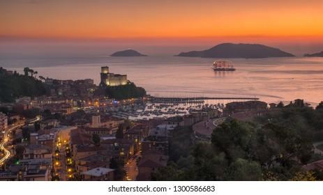 fantastic tallship in Lerici's gulf  in the sunset. La Spezia . Liguria.Italy