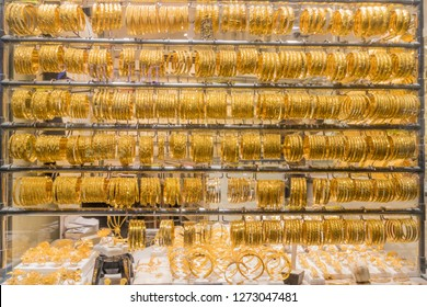 Fantastic and touristic Dubai gold souk in Deira