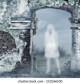 Fantastic transparent white woman ghost with a bloody hatchet in hand
