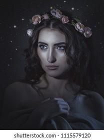 Fantastic Universe. Beautiful young woman in floral crown