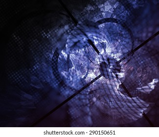 Fantastic unusual abstract background with complex geometric pattern in deep azur tones