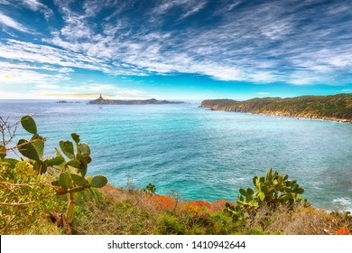 Fantastic view of Capo Carbonara beach with turquoise water and lighthouse. Location: Villasimius, Cagliari region, Sardinia, Italy, Europe