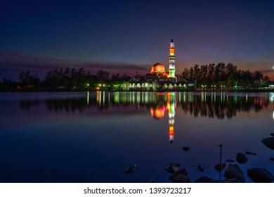 Fantastic View during Sunset of Floating Mosque in Terengganu.Tengku Tengah Zaharah Mosque or the Floating Mosque is the first real floating mosque in Malaysia