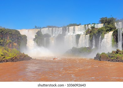 Fantastic view of Iguazu falls. Argentina and Brazil