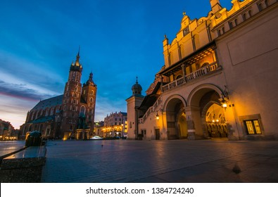 Fantastic view of market square of Krakow at early morning