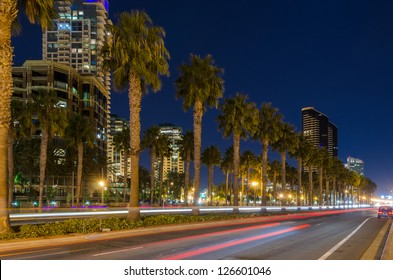 Fantastic view of modern city at night in San Diego, CA, USA