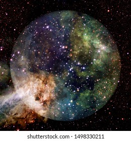 Fantastic view of moon. Solar system. Billions of galaxies in the universe. Elements of this image furnished by NASA