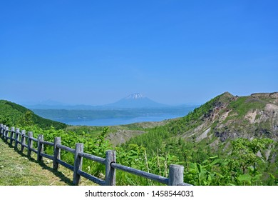 Fantastic view of Mt. Yotei (Ezo Fuji) seen from promenade of Mt. Usu at Hokkaido