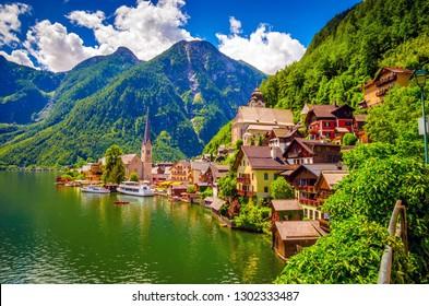 Fantastic view on Hallstatt village and alpine lake, Austrian Alps,  Salzkammergut, Austria, Europe
