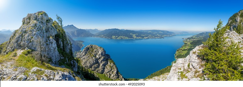 Fantastic view over the Attersee seen from Schoberstein (1037m)