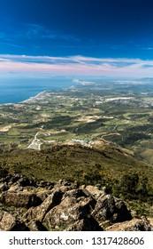 Fantastic view of the Strait of Gibraltar from Sierra Bermeja, Estepona, Malaga, Spain