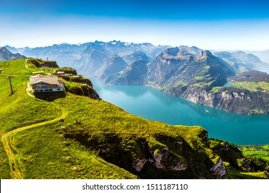 Fantastic view to Vierwaldstattersee with Rigi and Pilatus mountains, Brunnen town from Fronalpstock, Switzerland, Europe.