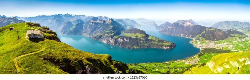 Fantastic view to Vierwaldstattersee with Rigi and Pilatus mountains, Brunnen town from Fronalpstock, Switzerland, Europe.