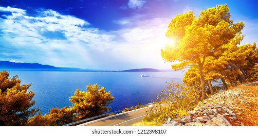 The Fantastic views of the adriatic sea under sunlight and blue sky. Dramatic and picturesque scene. Artistic picture. Beauty world.