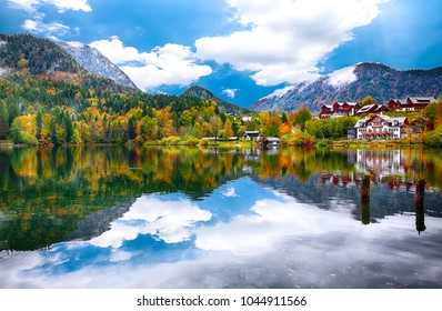 Fantastic views of the lake. Mirror reflection. Dramatic and picturesque scene. Location: resort Grundlsee, Liezen District of Styria, Austria, Alps.