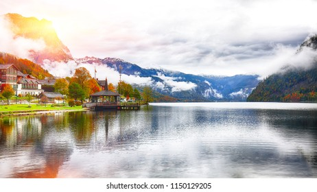Fantastic views of the lake. Mirror reflection. Dramatic and picturesque scene. Location: resort Grundlsee, Liezen District of Styria, Austria, Alps. Europe.