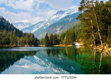 Fantastic views of the tranquil lake with amazing reflection. Mountains & glacier in the background. Peaceful & picturesque landscape. Location: Austria, Europe. Artistic picture. Beauty world