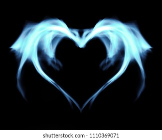 Fantasy abstract blue fire heart, on black isolated background.