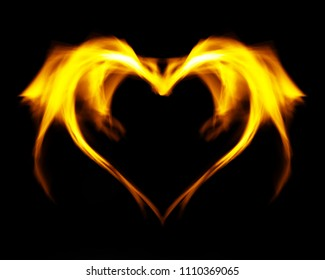Fantasy abstract fire heart, on black isolated background.