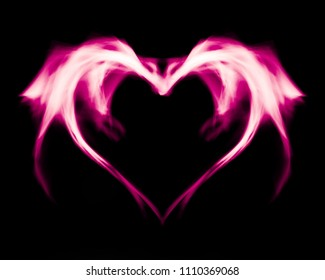 Fantasy abstract pink fire heart, on black isolated background.
