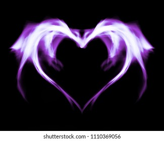 Fantasy abstract purple fire heart, on black isolated background.