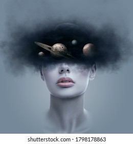 Fantasy art portrait of young woman with head in galaxy outer space. Concept of dreams or imagination - Shutterstock ID 1798178863