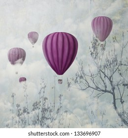 Fantasy artistic image of pink hot air balloons in the clouds. Fine art surreal landscape scenery.