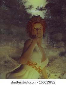 Fantasy autumn girl in the dark foggy forest.