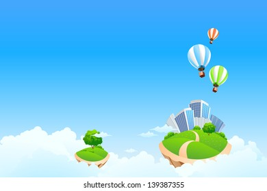 Fantasy background with clouds tree balloons and City for your design