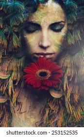 fantasy beautiful woman portrait with flower, composite photo