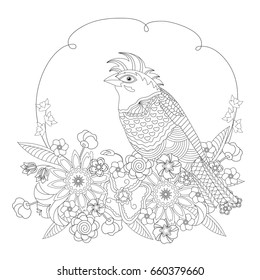 Fantasy bird in flowers. Coloring book for adults and children. Black and white illustration. Raster version.