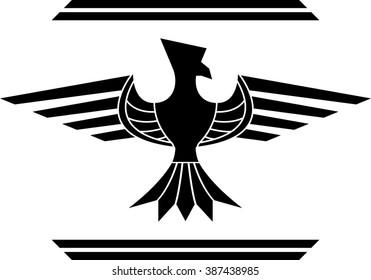 fantasy bird. stencil. second variant. raster version