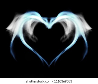 Fantasy blue fire heart with wings, on black isolated background.