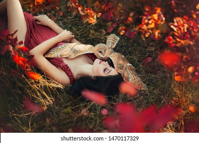 fantasy bright photo burgundy shades, young woman dark dress color Marsala, lady princess long hair lies autumn grass, fallen red yellow leaves, barn owl spread wings on sleeping fairy  protects dream