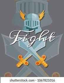 fantasy cartoon style game design medieval crossed swords and helmet elements with lettering and shadows illustration