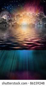 Fantasy City and Underwater Scene