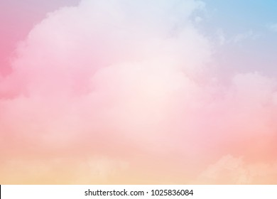 fantasy cloudy sky with pastel gradient color , nature abstract background
